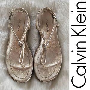 CALVIN KLEIN Farley Metallic Sandals